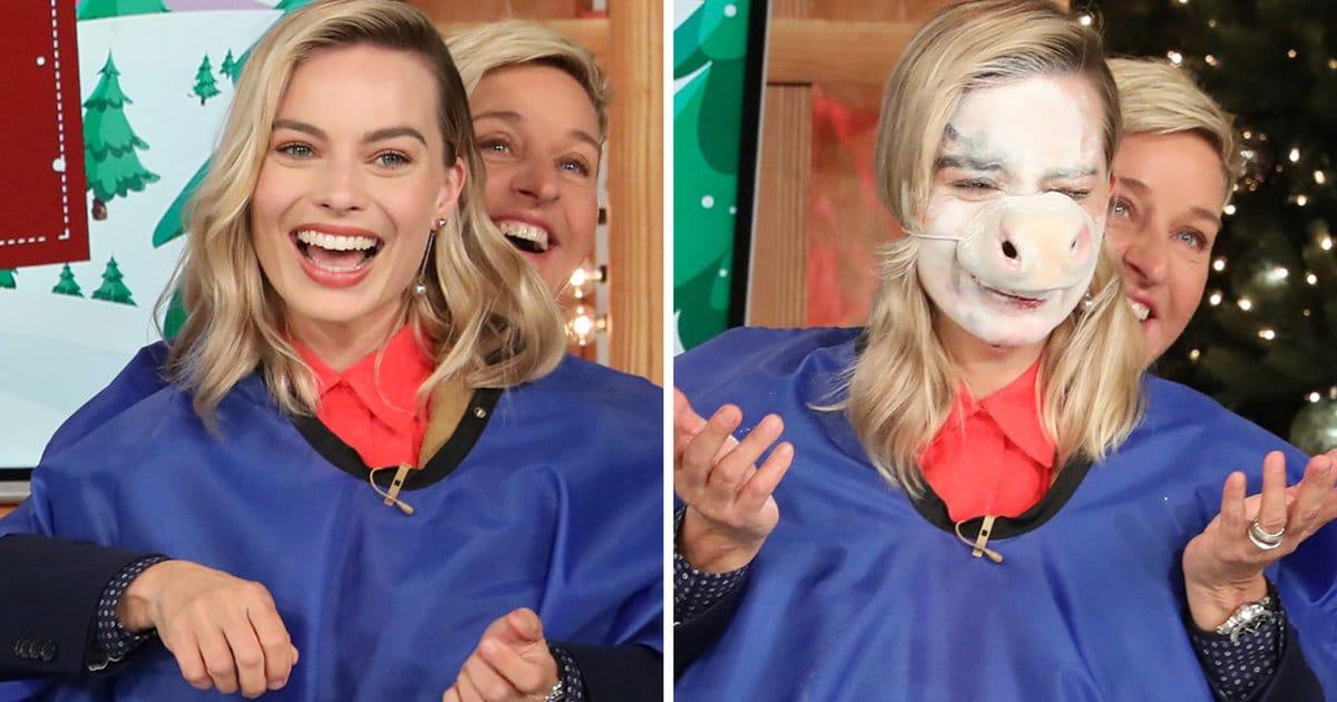 Margot Robbie Completely Loses It After Ellen DeGeneres Does Her Makeup