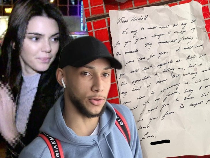 Kendall Jenner Posts Sappy Love Letter … From Ben Simmons?!
