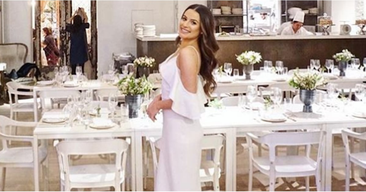 "Lea Michele Is So ""Here Comes the Bride"" in Her White Shower Dress"