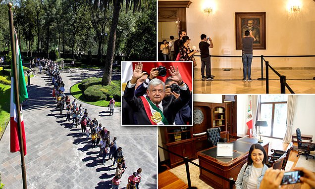 Hundreds of Mexicans line up to catch glimpse of presidential palace
