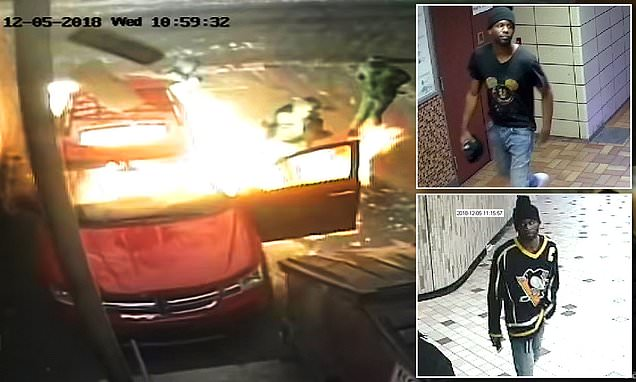 Shocking footage shows the moment an arsonist blows himself up