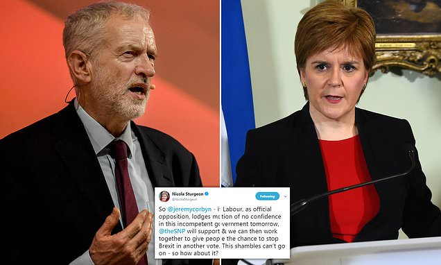 Nicola Sturgeon issues direct appeal to Jeremy Corbyn to topple Mat
