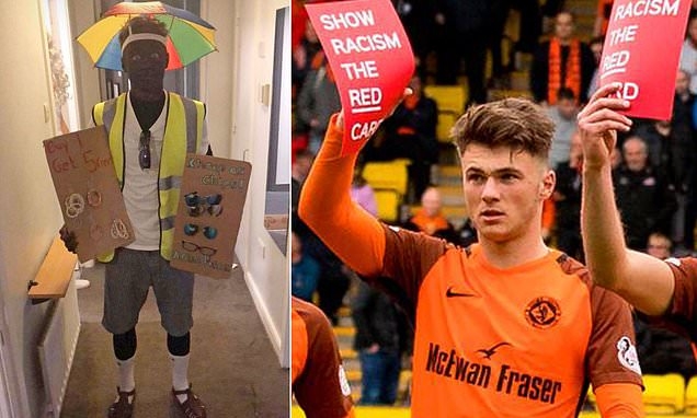Jamie Robson apologises for 'blacking up' as African salesman