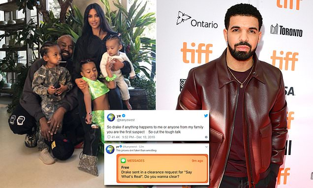 Kanye West claims Drake 'threatened' him in Twitter rant