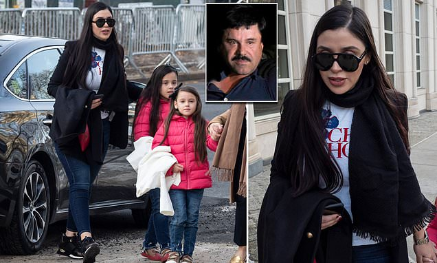 El Chapo's beauty queen wife returns to trial with twin daughters
