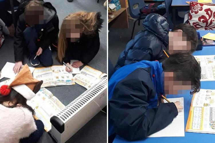 Pupils forced to huddle around a HEATER and wear coats in makeshift class at 'freezing' school