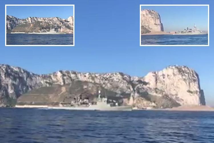 Spanish warship blasting out the country's National Anthem sails through Gibraltar waters while chased by Royal Navy boat after Brexit territory row