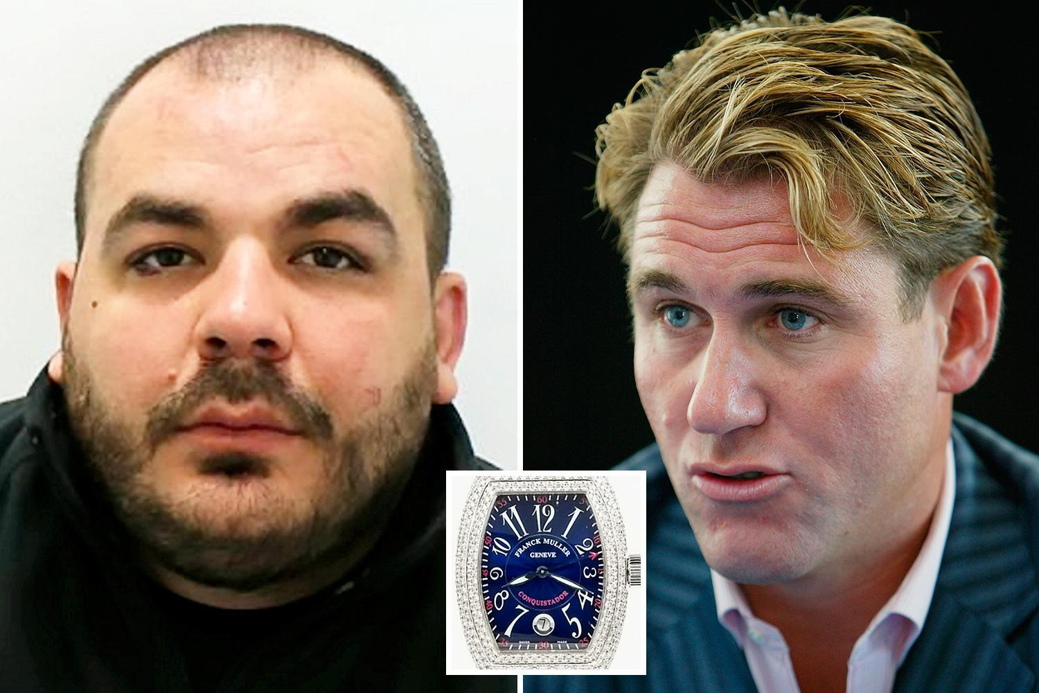 Career criminal who robbed ex-Crystal Palace owner of £135k watch at gunpoint and boasted about it on WhatsApp cries as he's jailed