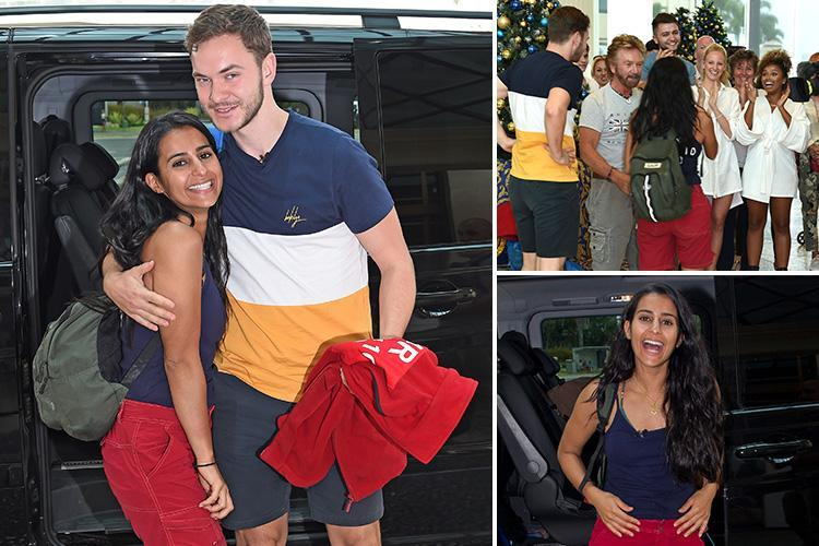 I'm A Celeb's Sair Khan hugs boyfriend Simon Lennon and campmate Noel Edmonds as she arrives back at hotel after being kicked out of the jungle