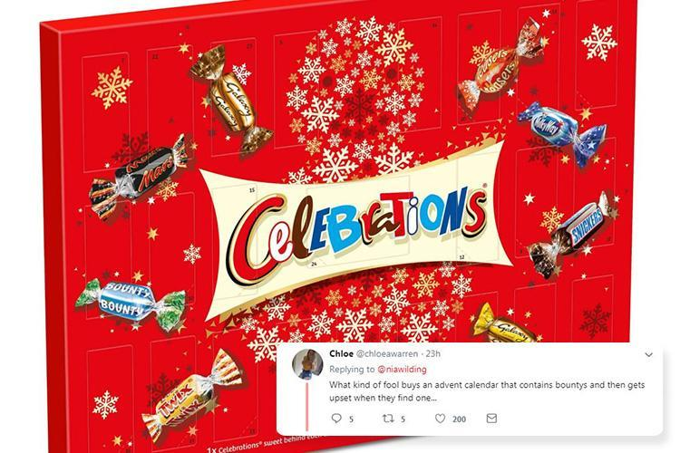 Celebrations advent calendar whiners told to 'get over it' after backlash over treats behind first three doors