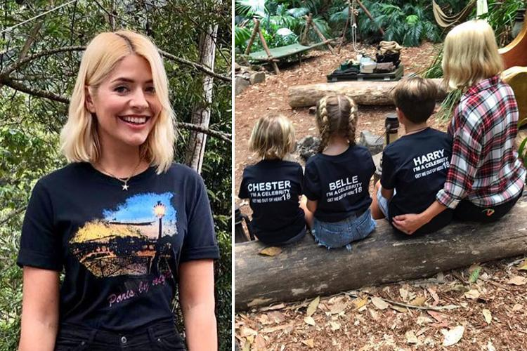 Holly Willoughby shares rare pic of her three children in the I'm A Celeb camp