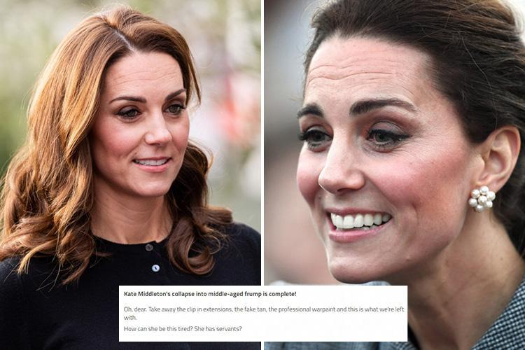 Trolls dub Duchess of Cambridge 'Kate Wrinkleton' and say royal life has taken it's toll while others defend her