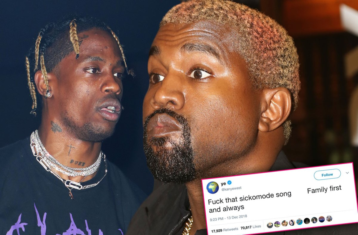 'F**k That Sickomode Song!' Kanye Slams Travis Scott In Nasty Twitter War