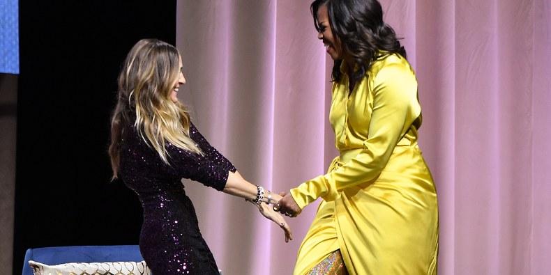 Michelle Obama Swerves in Glittery Balenciaga Thigh High Boots