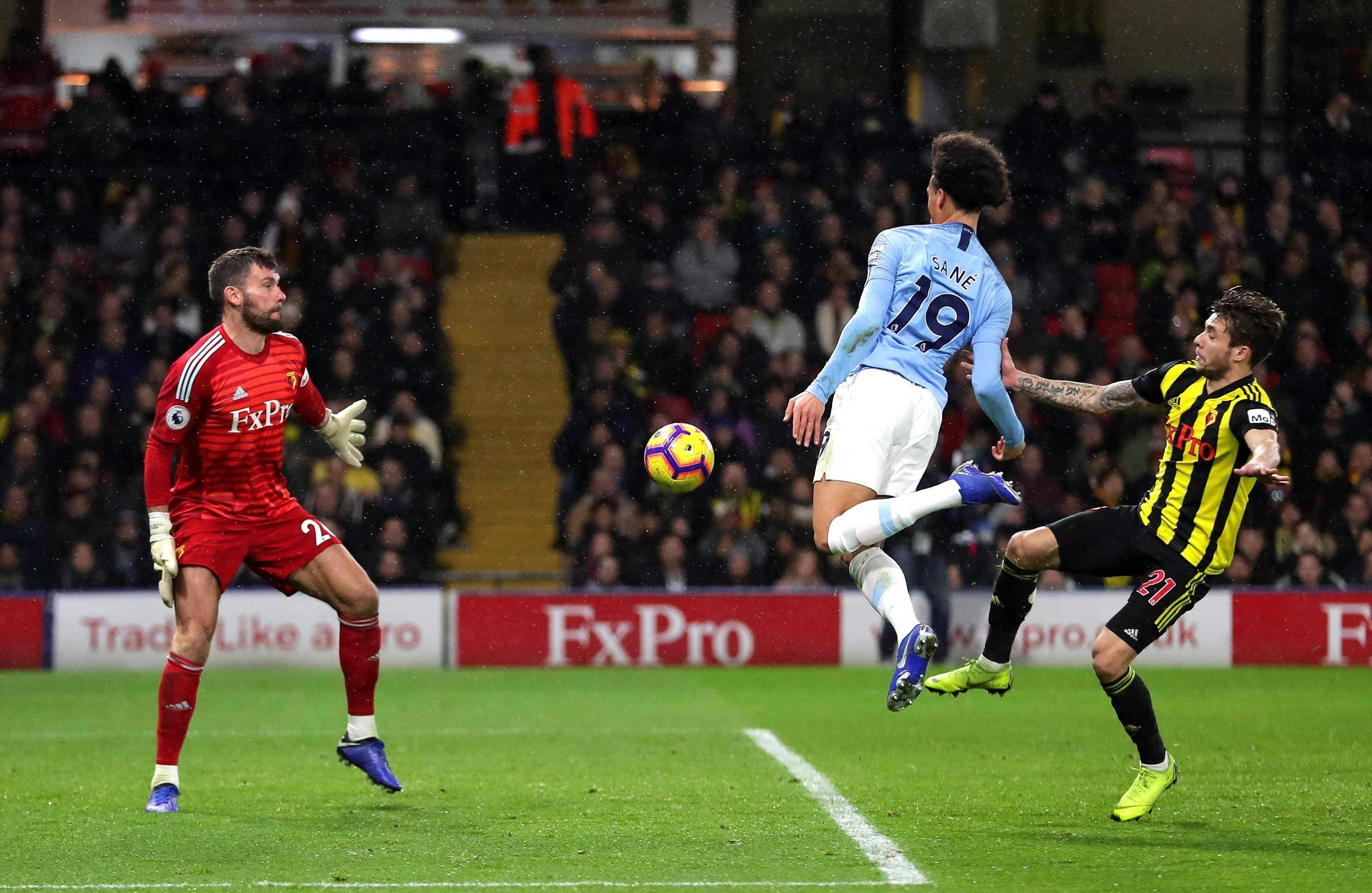 Leroy Sane puts Man City ahead at Watford – nutmegging Ben Foster with his chest