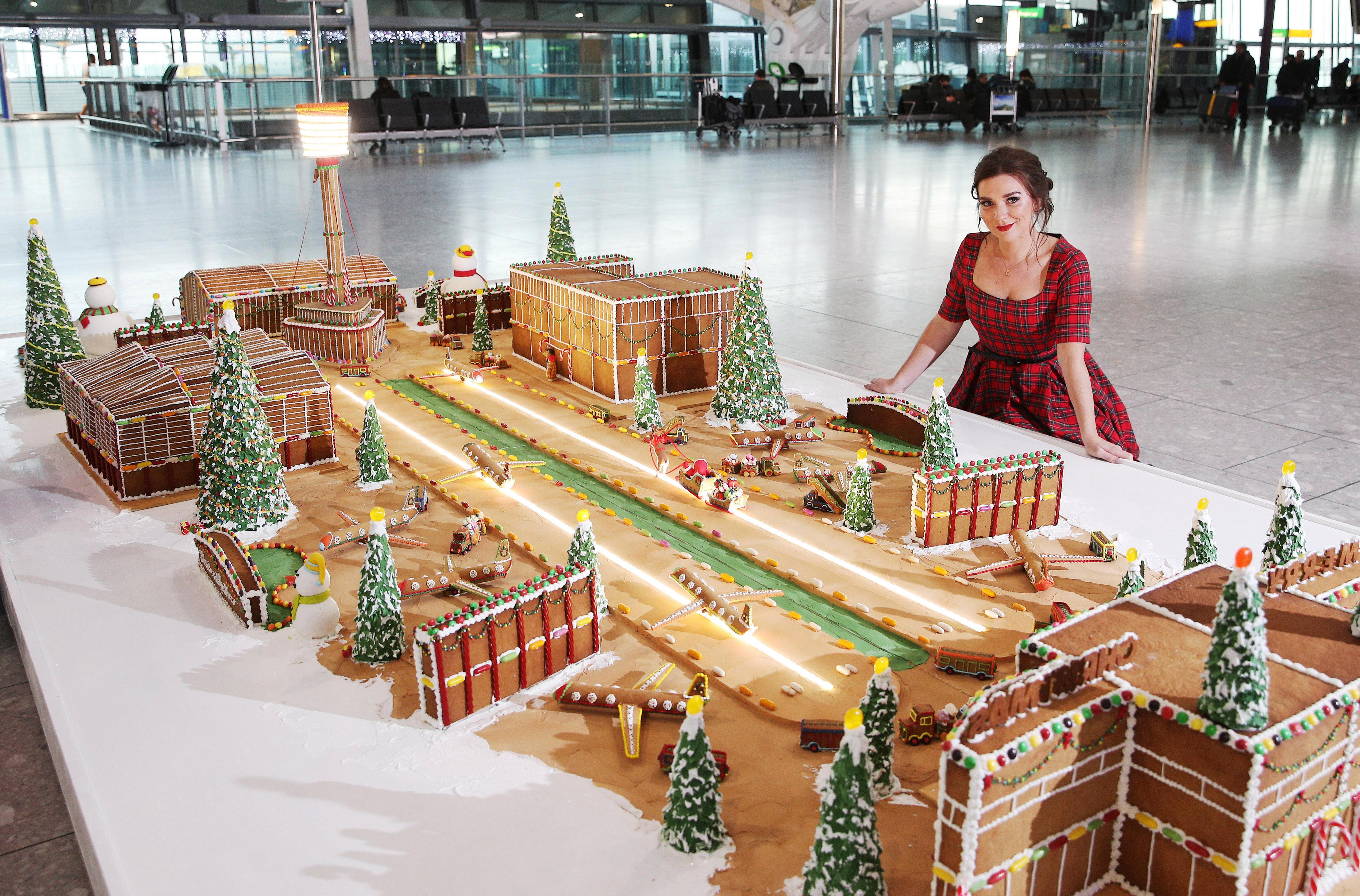 Great British Bake Off winner Candice Brown unveils gingerbread model of Heathrow Airport to surprise Christmas travellers