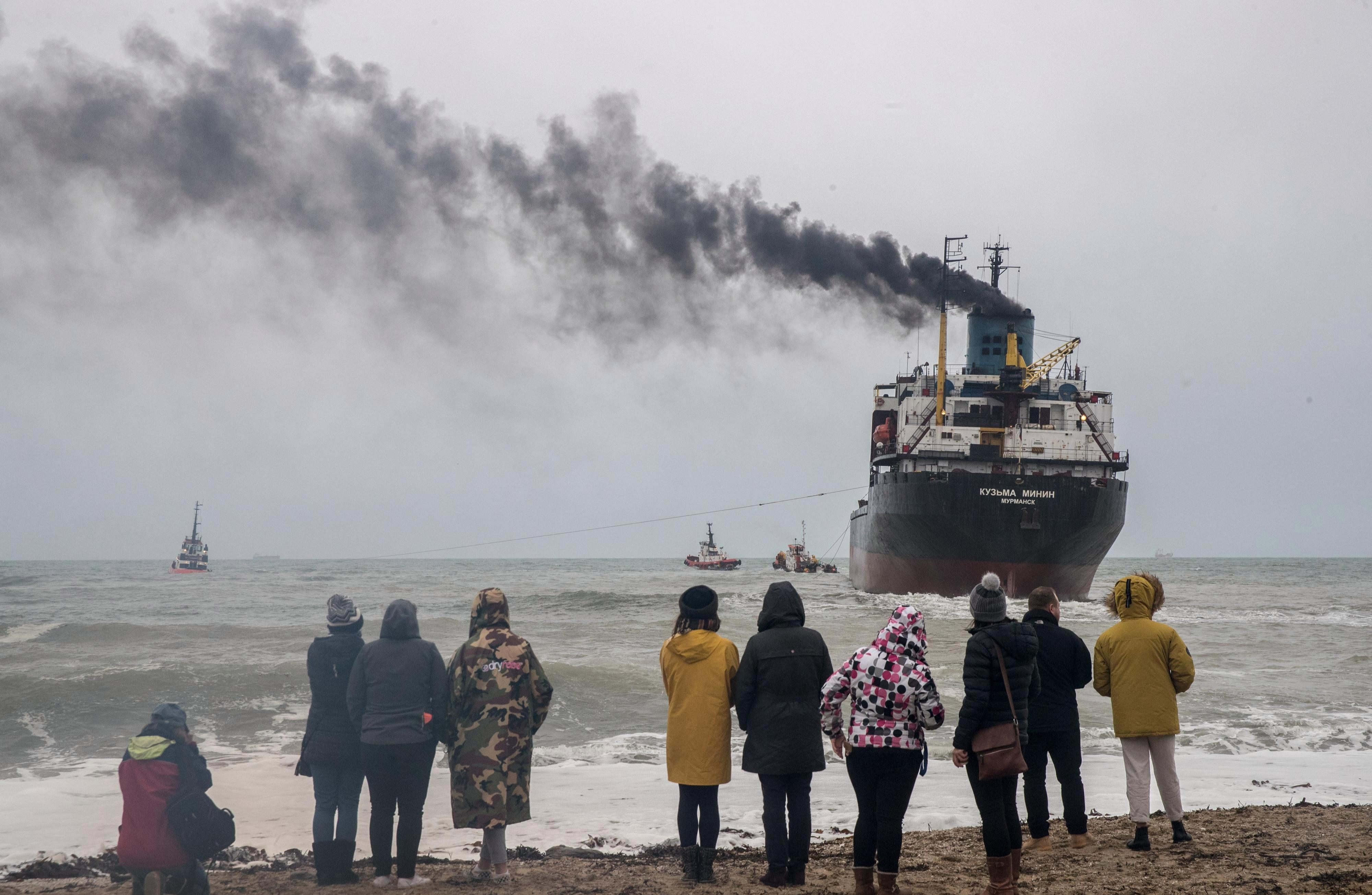 Giant Russia cargo ship is refloated off the Cornwall coast after owner blamed UK for running aground – despite having 100 FAULTS