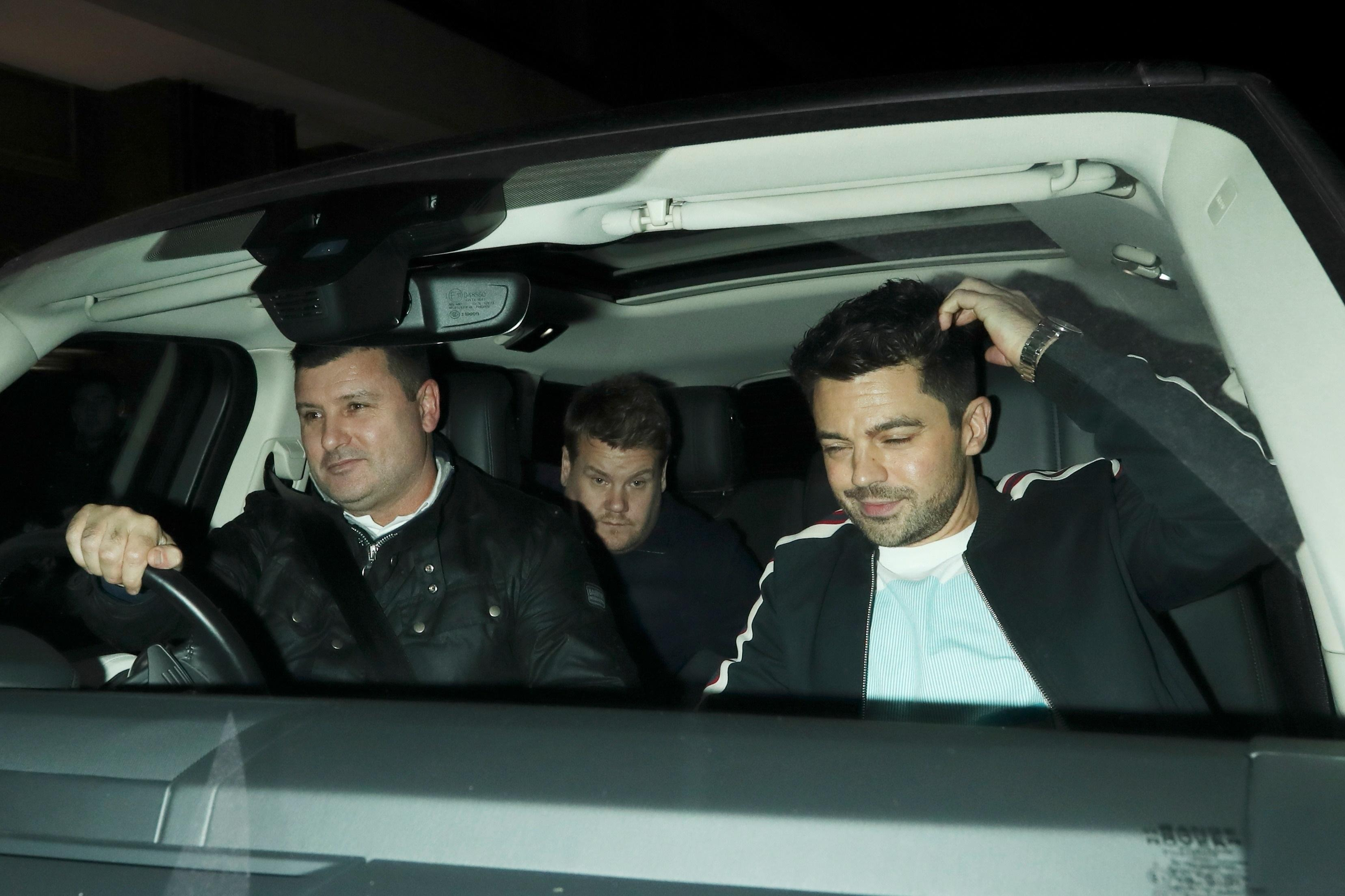 James Corden and Dominic Cooper reunite for a boozy night out with James' wife Julia