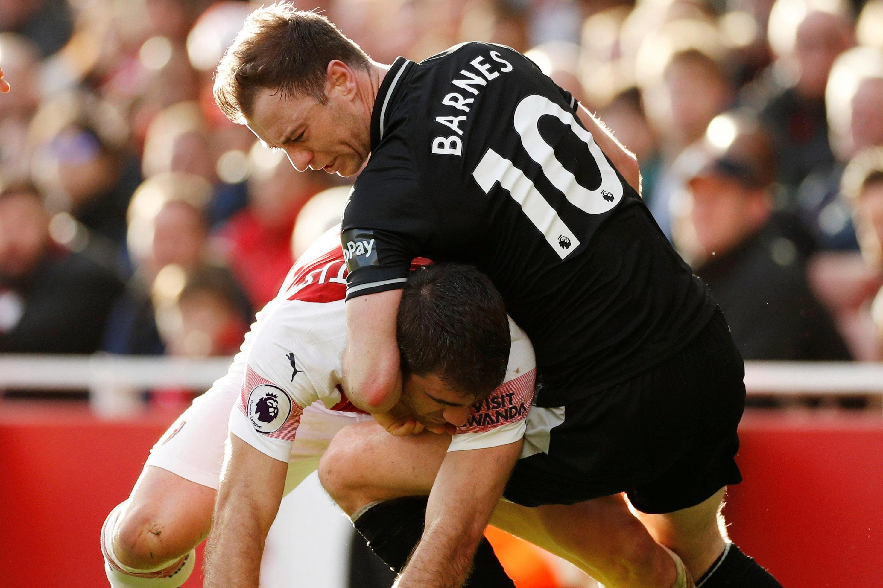 Sokratis and Ashley Barnes give their version of events after tussle in Arsenal win