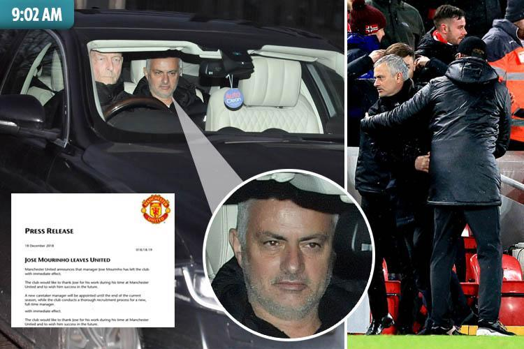 Jose Mourinho sacked by Man Utd – but will scoop £24million in compensation