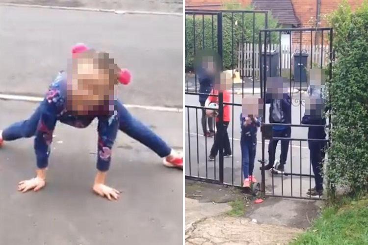 Police 'have spoken' to little girl filmed calling woman a 'f***ing slag' and 'Polish c***' as victim claims kids also FLOODED her front room