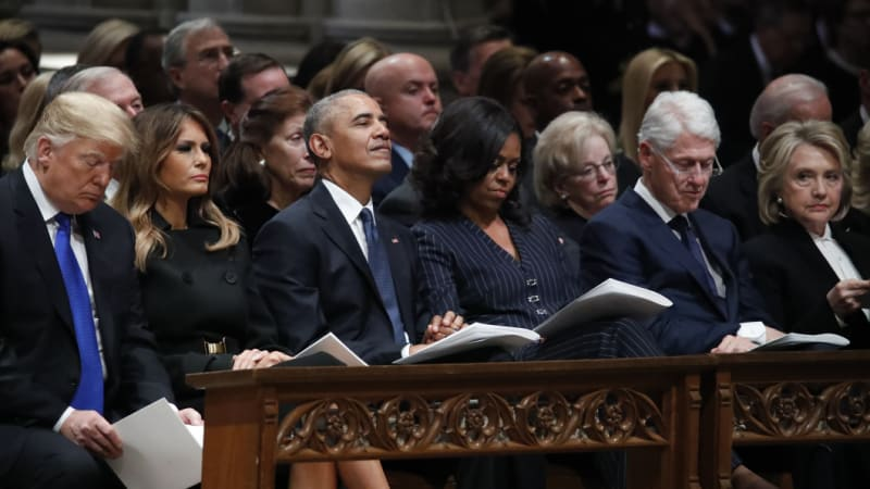 Trump on the fringes of presidents' group at George H.W. Bush's funeral