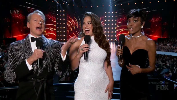 Ashley Graham Stuns In High-Neck, Curve-Hugging White Dress At Miss Universe