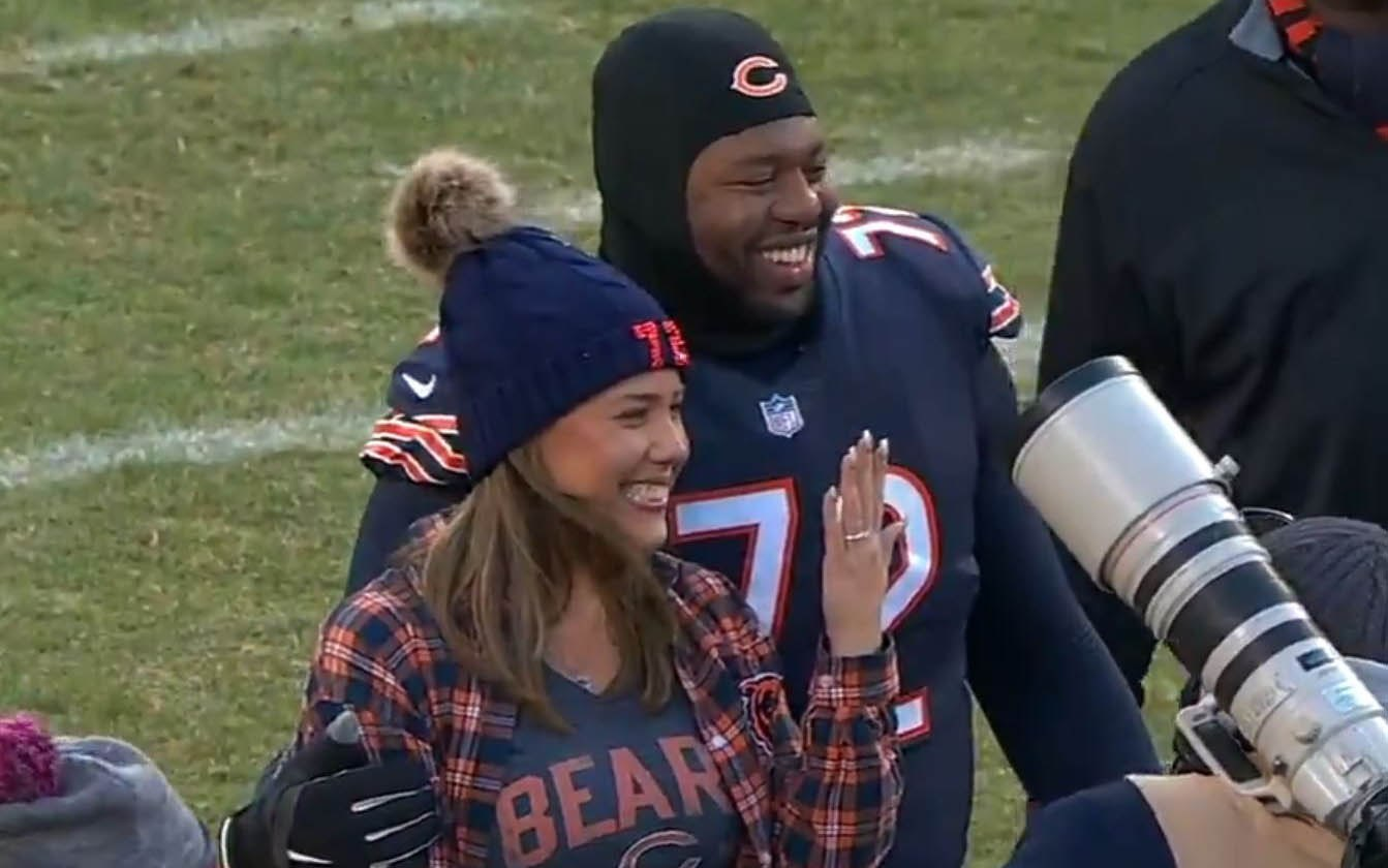 Bears lineman celebrates win with midfield marriage proposal