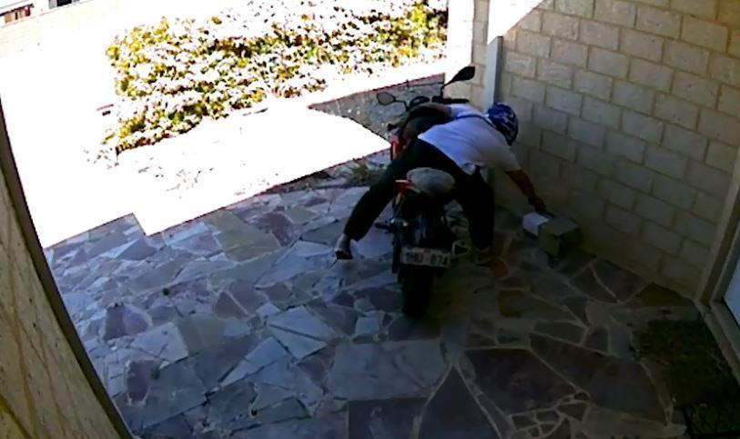Biker steals Christmas parcel from mum's doorstep – but she gets the last laugh as the decoy package is filled with BRICKS