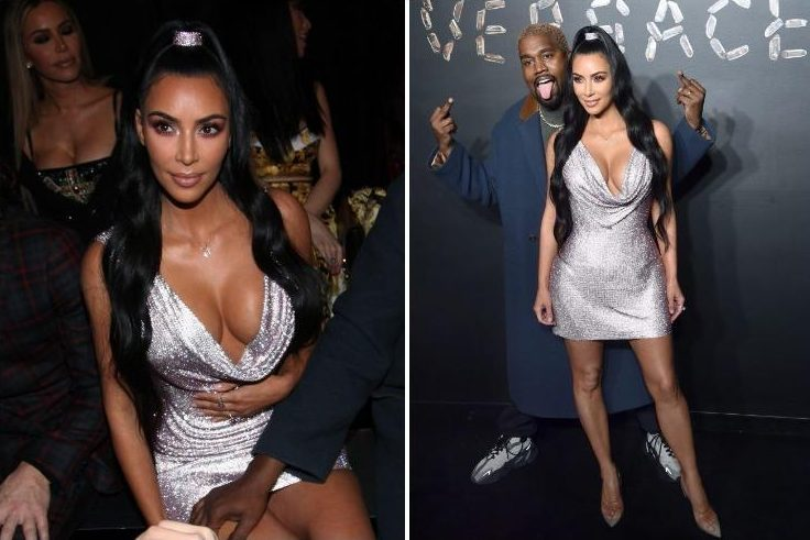 Kim Kardashian wows in plunging sequinned dress at Versace fashion show in New York