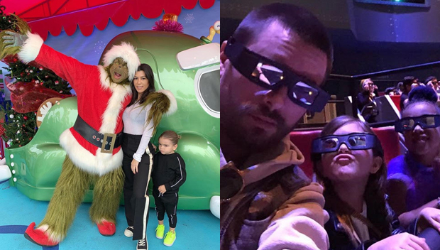 Kourtney Kardashian Poses With The Grinch On Day Out In Universal Studios With Scott & The Kids