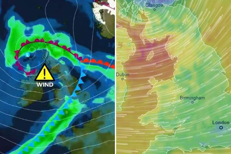 UK weather – Storm Etienne forecast to bring 17 HOURS rain and snow tomorrow before 80mph 'danger to life' gales hit