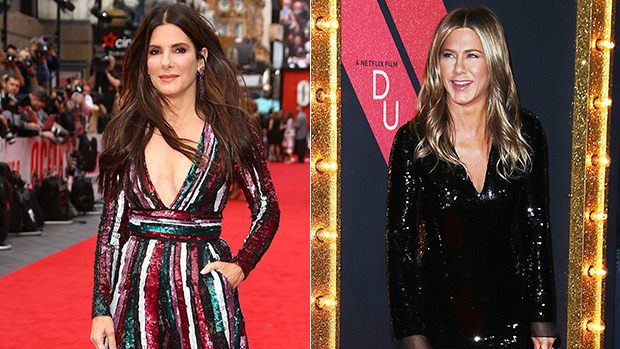 Sandra Bullock Crashes Jennifer Aniston's Interview To Bring Tequila Shots & Give Her Big Kiss