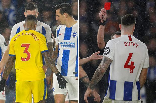 Brighton defender Shane Duffy sent off for headbutt on Patrick van Aanholt as derby with Crystal Palace flares up
