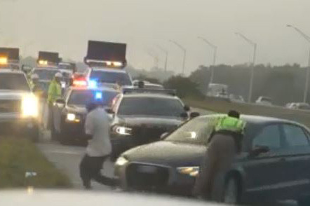 Video captures trooper get hit by car after pushing man out of danger