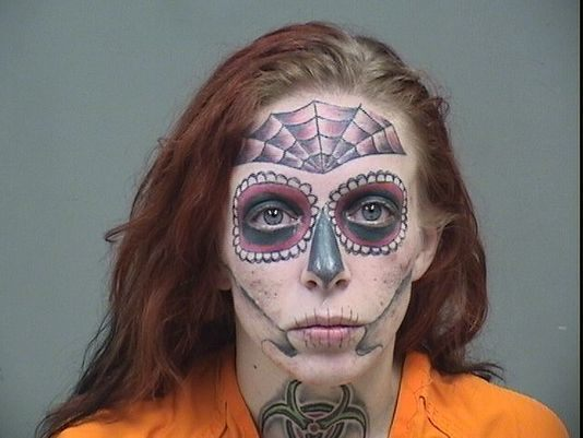 Mugshot of Ohio woman with unique face tattoos goes viral after Walmart shoplifting arrest