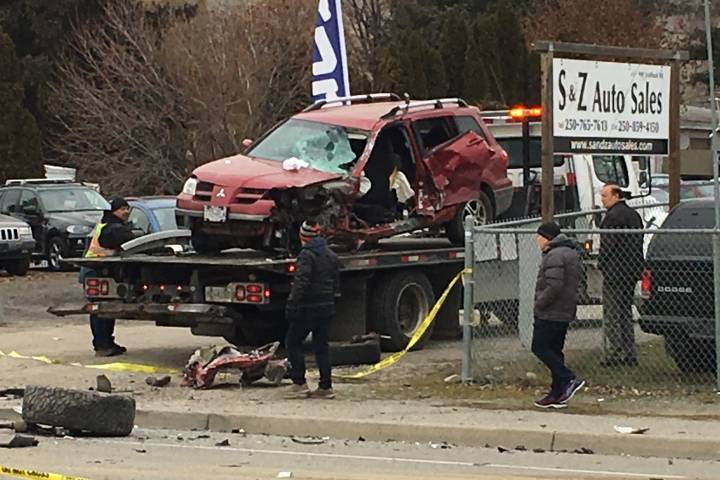 Man accused of stealing truck, causing life-threatening crash and fleeing on foot in Kelowna