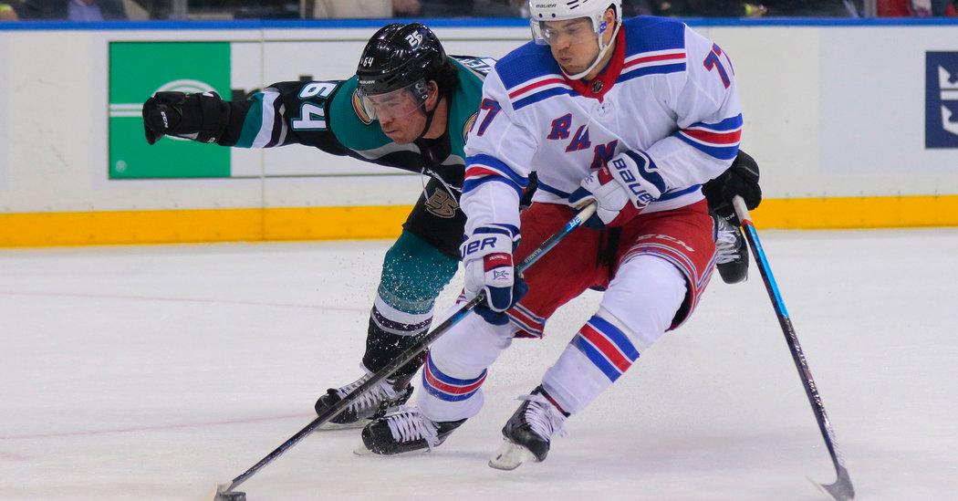 Rangers Beat Ducks on Short-Handed Goal With 40 Seconds Left