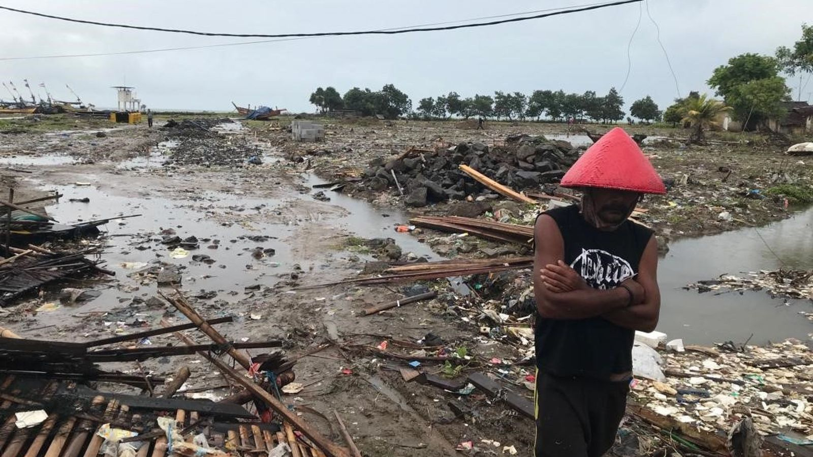 Indonesia tsunami: Walking through the remains of a destroyed village