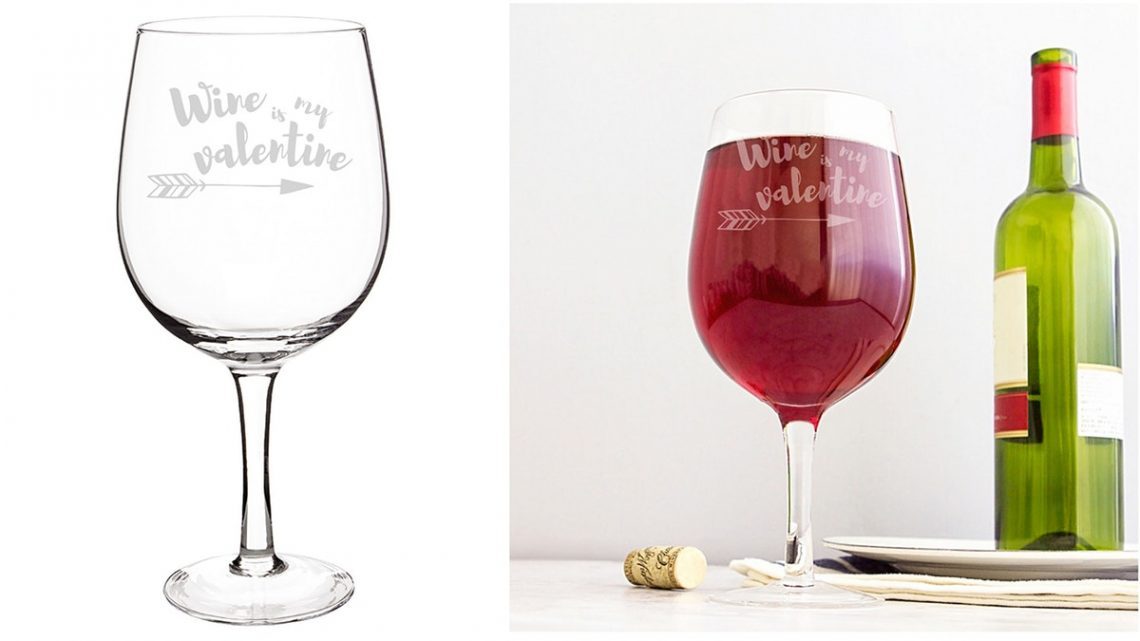 """This """"Wine Is My Valentine"""" Glass From Target Can Hold An Entire Bottle Of Wine"""