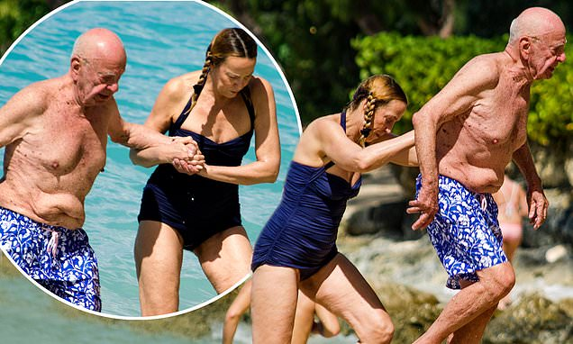 Jerry Hall, 62, hits the Barbados beach in chic halterneck swimsuit