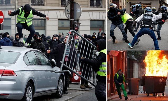 France ablaze AGAIN as hundreds of Yellow Vests clash with police