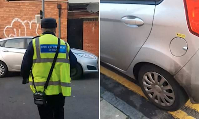 Delivery driver catches traffic warden parked on double yellow lines