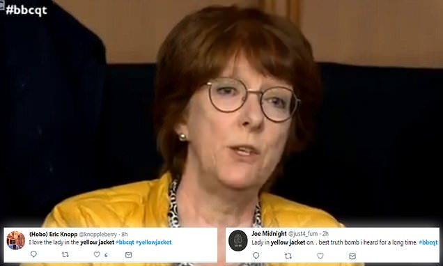 Question Time viewers go wild for 'Woman in the Yellow Jacket'