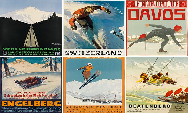Stunning collection of vintage ski posters goes on sale for £70,000