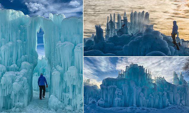 'Ice artisans' create incredible 40ft-tall frozen castles
