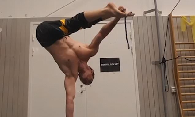 Well-balanced gymnast ties a knot with his feet