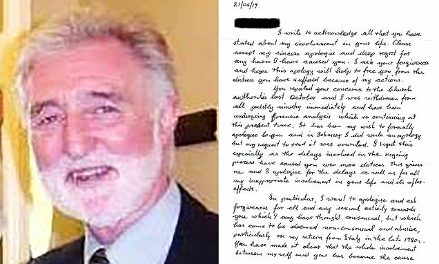 Priest writes letter of apology to woman he had 'sexual activity'