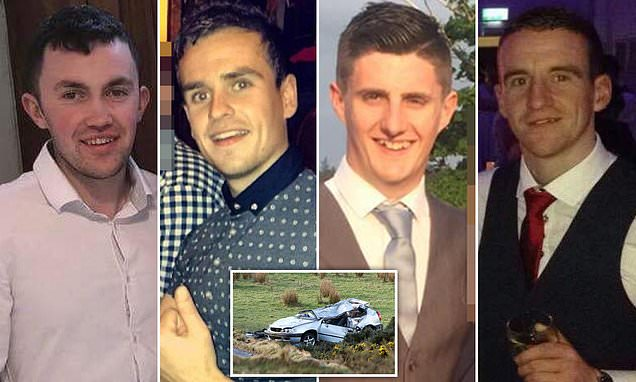 Pictured: Four men killed in a car crash in Ireland