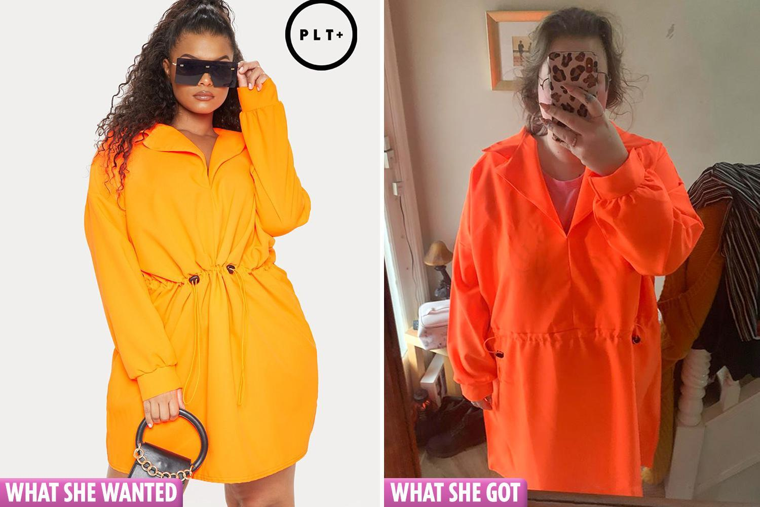 Student gutted after the PrettyLittleThing dress she ordered online actually looks like a high-vis tent